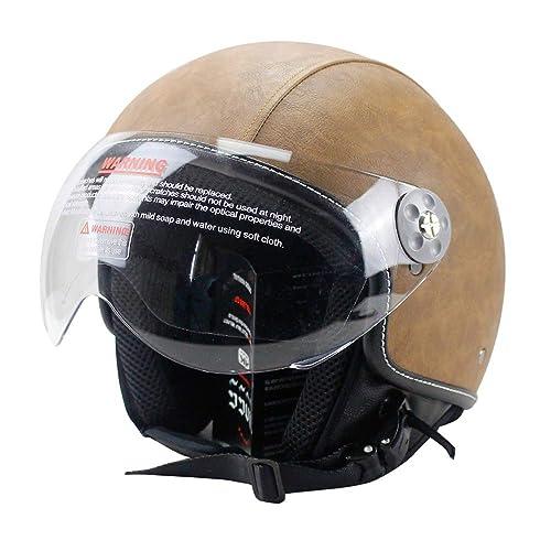 6e425176 Woljay Leather Motorcycle Vintage Half Helmets Motorcycle Biker Cruiser  Scooter Touring Helmet (M, Brown
