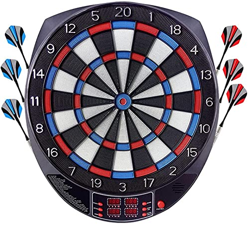 OUKITEL Electronic Dart Board, Dart Board Game Set Professional Dartboard with 4 LED Display Screen, 27 Games and 243 Variants 6 Darts, 24 Spare Tip Darts, for 16 Players