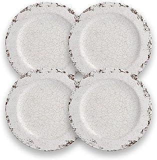 CARTAFFINI SRL - Plato Llano Craquele de melamina, 28 cm de diámetro, Juego de 4 Platos, Color Blanco Marfil