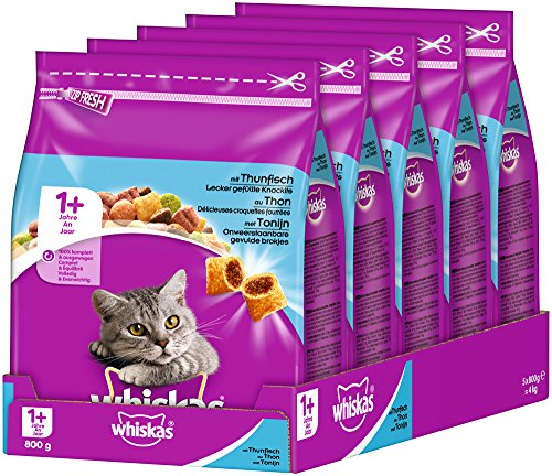 whiskas Cat Food Dry Adult Cat Food from 1 year (5 x 800 g)