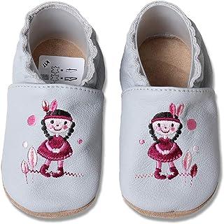 HOBEA-Germany Chaussures Premiers Pas/Chaussons Bébé en Cuir Doux Unicolore, différentes Couleurs, Taille Chaussures:16/17...