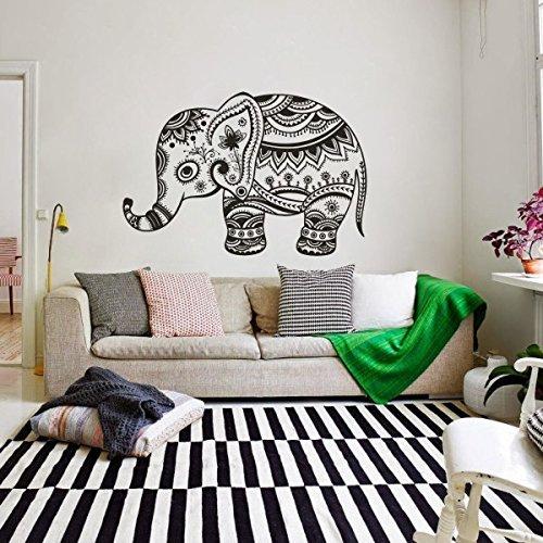 Vinilo adhesivo de pared con citas de animales - Elefante yoga India Boho ropa de cama de vinilo para cuarto de bebé, arte de pared (tamaño grande) Mural adhesivo de pared para dormitorio, cocina y baño