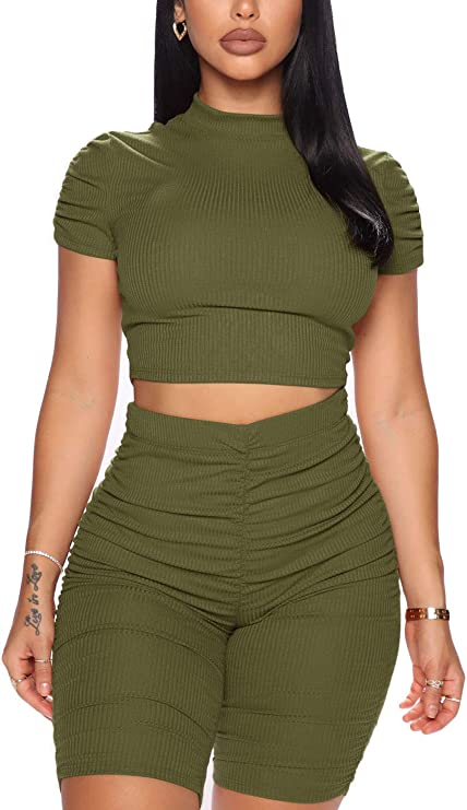 Ohvera Women's 2 Piece Outfits Crop Top Ruched Cycle Shorts Bike Tracksuit Sets