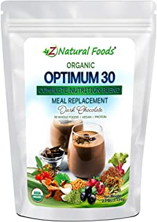 Organic Optimum 30 Meal Replacement Powder - Dark Chocolate - Complete Nutrition Superfood Blend - Plant Based Protein + H...