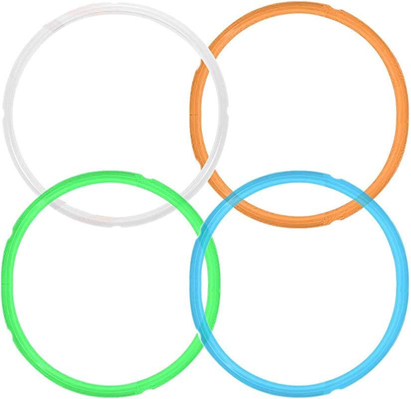 4 Pack Silicone Sealing Ring For Instant Pot Accessories Fits 5 Or 6 Quart Models BPA FREE And Leak Proof White Blue Green Orange