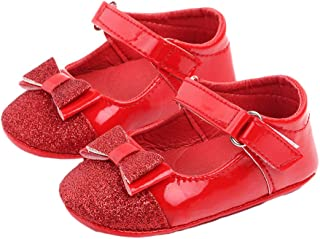 Hopscotch Baby Girls PU Bow Applique Sandals in Red Color