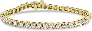 AGS Certified 5 Carat TW Three Prong Diamond Tennis Bracelet in 14K Yellow Gold (J-K Color, I2-I3 Clarity)
