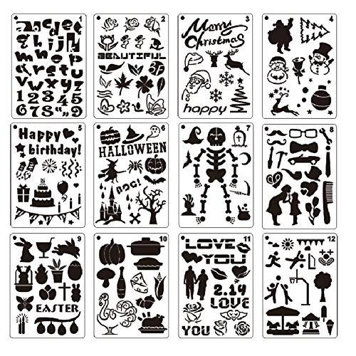 Zeichenschablonen, 12 Stück, Kunststoff, Zeichnung, Malschablonen mit Urlaubsmotiv, Malvorlage für Halloween/Geburtstag/Weihnachten/Valentinstag für Bastelprojekte