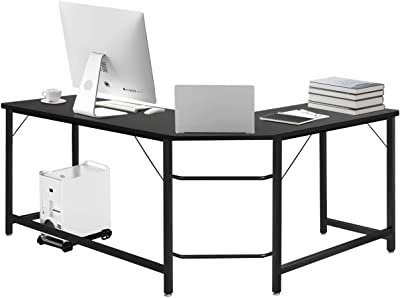 Tangkula L-Shaped Corner Computer Desk, 66 Inch Home Office Desk PC Laptop Study Table with CPU Stand & Spacious Surface, Computer Workstation with Adjustable Foot Pads, Black