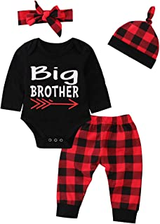 Baby Clothes Long Sleeve Onesie Bodysuit Red Plaid Pants Set Hat Bow Headband 4pcs Infant Toddler Outfits