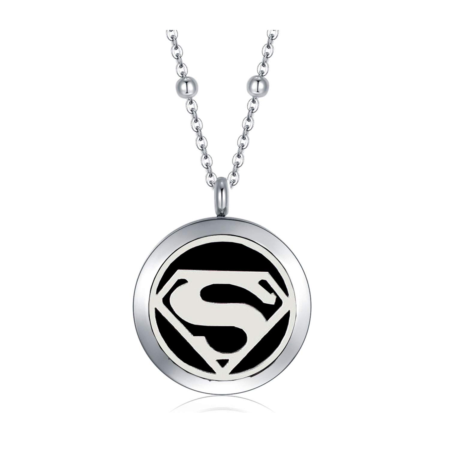 CF100 Small 25mm Superman Aromatherapy Necklace 316L Stainless Steel Essential Oil Diffuser Necklaces with Refill Pads & Beads Chain 20+2