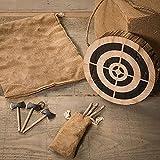 Juego de 3 hachas vikingas pequeñas, juego de lanzamiento de hachas con placa de objetivo de madera, juego de dardos de dardos, juegos de jardín de madera para adultos, práctica de tiro al aire libre