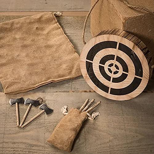 BBVP 3pcs Kleines Wikinger-Axt-Spiel, Axt-Wurfspiel mit Holz-Zielscheiben-Darts-Set, Dart-Brettspiele-Spielzeug, Holz-Gartenspiele für Erwachsene, Wurfspiel-Set Outdoor-dartscheibe Schießübungen