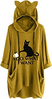 Ncenglings Damen Hoodies Herbst Pullover Sexy Katzen ohr Druckn Kapuzenpullover Mode Irregular Sweatshirt Weihnachten Wintermantel Casual Briefdruck Sequin Tops Langarm Rundhals Mantel Party Oberteile