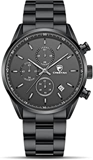 Fashion Business Mens Watches with Stainless Steel or Leather Strap Waterproof Chronograph Quartz Watch for Men with Auto Date