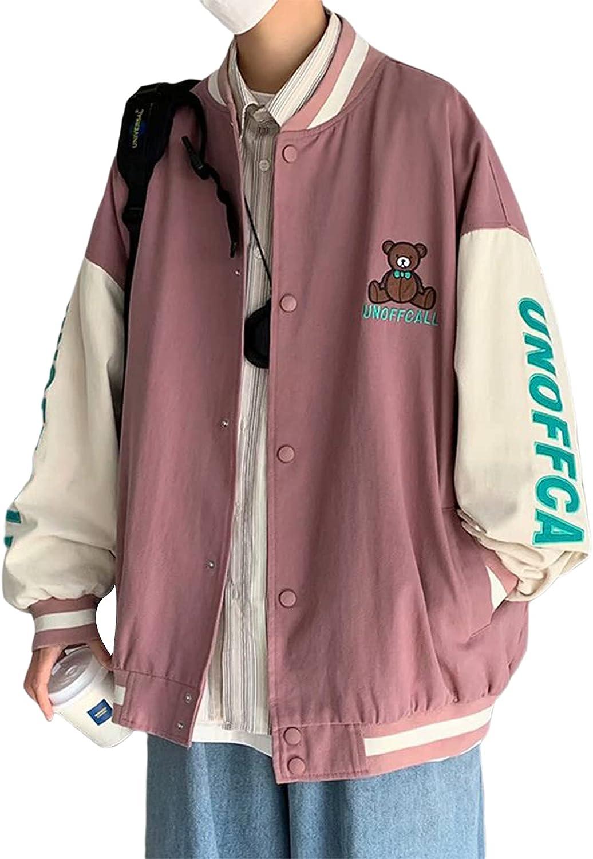Women's Bomber Jacket Button Down Long Sleeves Biker Jacket Loose Fit Baseball Coat Punk Hiphop Outwear Streetwear