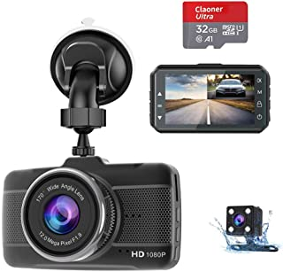 Dash Cam Front and Rear with SD Card (32G) Claoner FHD 1080P Backup Car Camera with Night Vision, 3 Inch IPS Screen, 170° Wide Angle, Loop Recording, G-Sensor, Motion Detection, Parking Monitor,