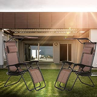 2 Pack Patio Chairs Lounge Chair Zero Gravity Chair Recliner W/Folding Canopy Shade and Cup Holder for Outdoor Funiture (B...