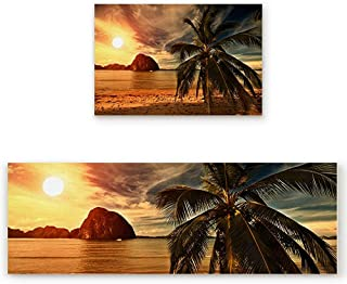 KRWHTS 2 PCS Kitchen Mat Non-Slip Doormat Bathroom - Philippines Summer Dusk Seaside Asian Tropical Landscape 16X24in(40x60cm)+16X48in(40x120cm)