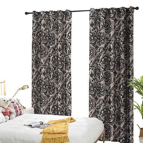 Gothic Darkening Curtain for Bedroom Abstract Graphic Lace Pattern with Flowers Butterflies Old Fashioned Nature Inspired Tan Black 54' W x 108' L