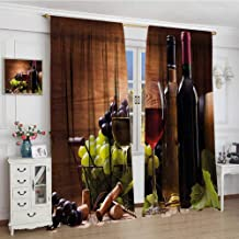 youpinnong Wine Blackout Window Curtain Glasses of Red and White Wine Served with Grapes French Gourmet Tasting Customized Curtains 72