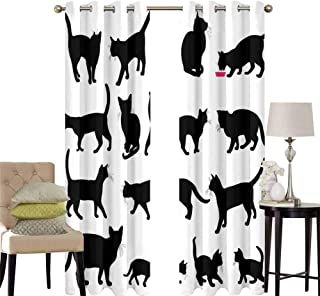 hengshu Cat Black Out Window Curtain 2 Panel Black Cat Silhouettes in Different Poses Domestic Pets Kitty Paws Tail and Whiskers Living Room Curtains for Bedroom W52 x L45 Inch Black White