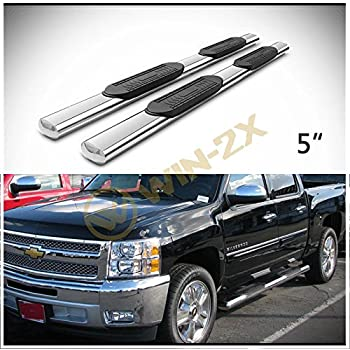 PLDDE 2pcs 4 Oval Tube Chrome Stainless Steel Side Step Nerf Bars Running Boards Brackets Installation Instruction Fit 09-18 Dodge Ram 1500 10-18 2500//3500 Crew Cab With 4 Full Size Doors
