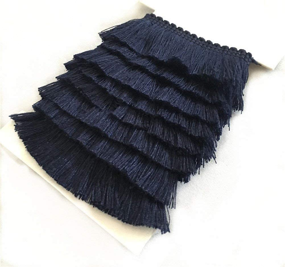 YEQIN 25mm Wide Cotton Fringe Year-end annual account Tassel navy 5 High quality new Yards Trim