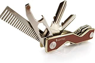 Compact Key Organizer Smart Key Holder by KEYTEC|Leather Gold Rim|Multitool Includes Bottle Opener Comb S-Clip Hook Expansion Accessory|Enhanced Frame