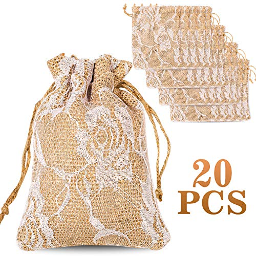 Whaline 20 Packs Rose Lace Burlap Bags with Drawstring Gift Bags Jewelry Pouch for Wedding and Valentine's Party DIY Arts & Crafts Presents, 5.3 x 3.9 inches