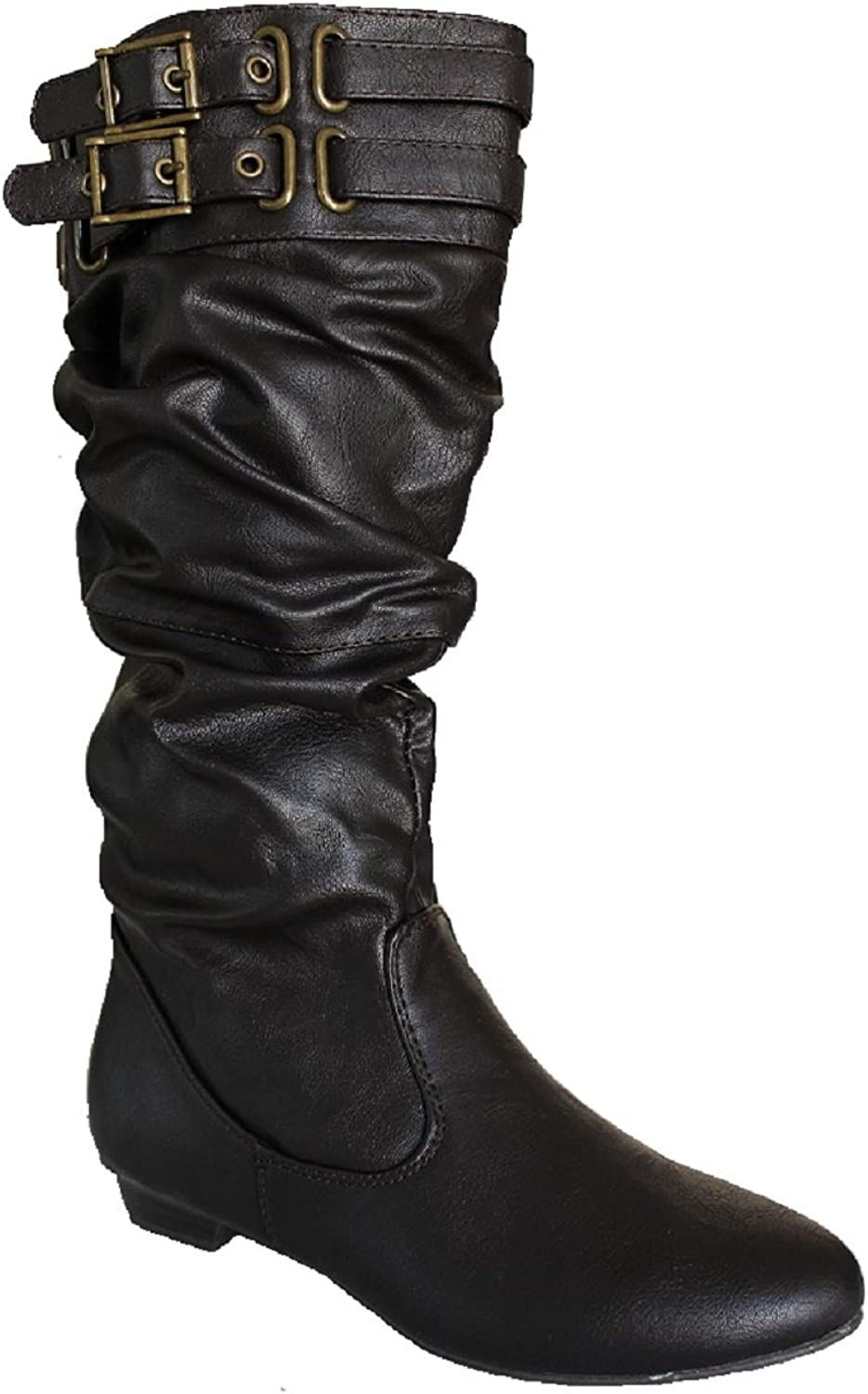 Soda Koto-S Women's Mid Calf Slouchy Leatherette Riding Boots