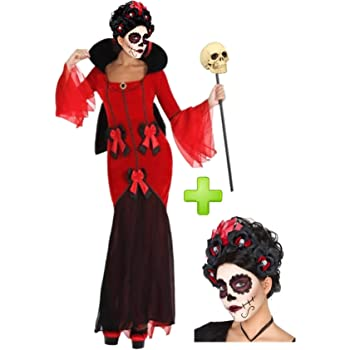 Disfraz Día de los muertos calavera colores mujer - M: Amazon.es ...