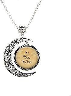 As You Wish Pendant Necklace - at Your Service Pendant - Service and Duty - As You Wish Jewelry - Literary Quote Jewelry - Princess - Bride