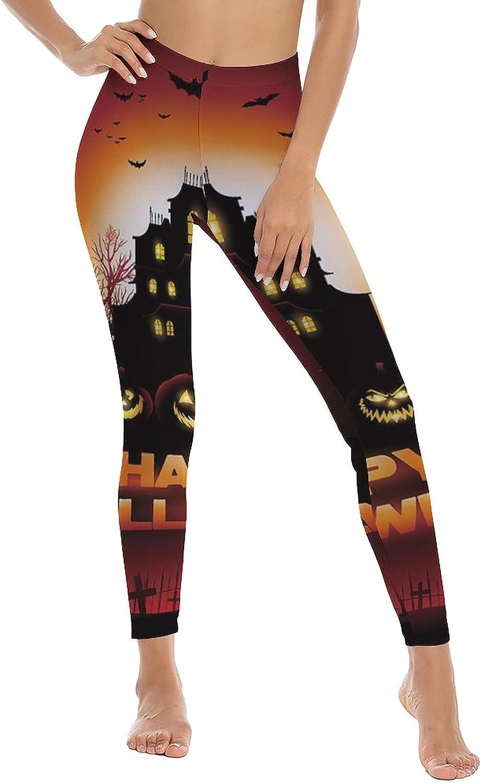 AngelSept Women's High Waist Leggings Happy Halloween Haunted Full Length Tight