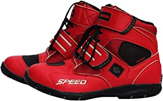 Backbayia Bottes Courtes de Moto Équipement de Protection Chaussures Hommes