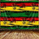 Marijuana Leaf Weed Tapestry Wall Hanging, Reggae Rasta Tie Dye Jamaica Premium Tapestries for Dorm Living Room Bedroom, Wall Blanket Beach Towels Home Decor 71X60 Inches