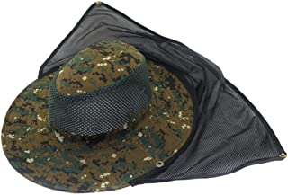 Mesh Military Camouflage Bucket Hat with Anti-Mosquito Bees Fly Mask Neck Flap Hat Sun Protection Shield Boonie Hats for Fishing Hiking Hunting Boating Safari Farming Garden Work Outdoor