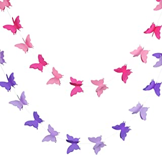 Blulu 2 Pieces 3D Paper Butterfly Banner Hanging Decorative Garland for Wedding, Baby Shower, Birthday and Theme Decor, 118 Inches Long, Pink and Purple