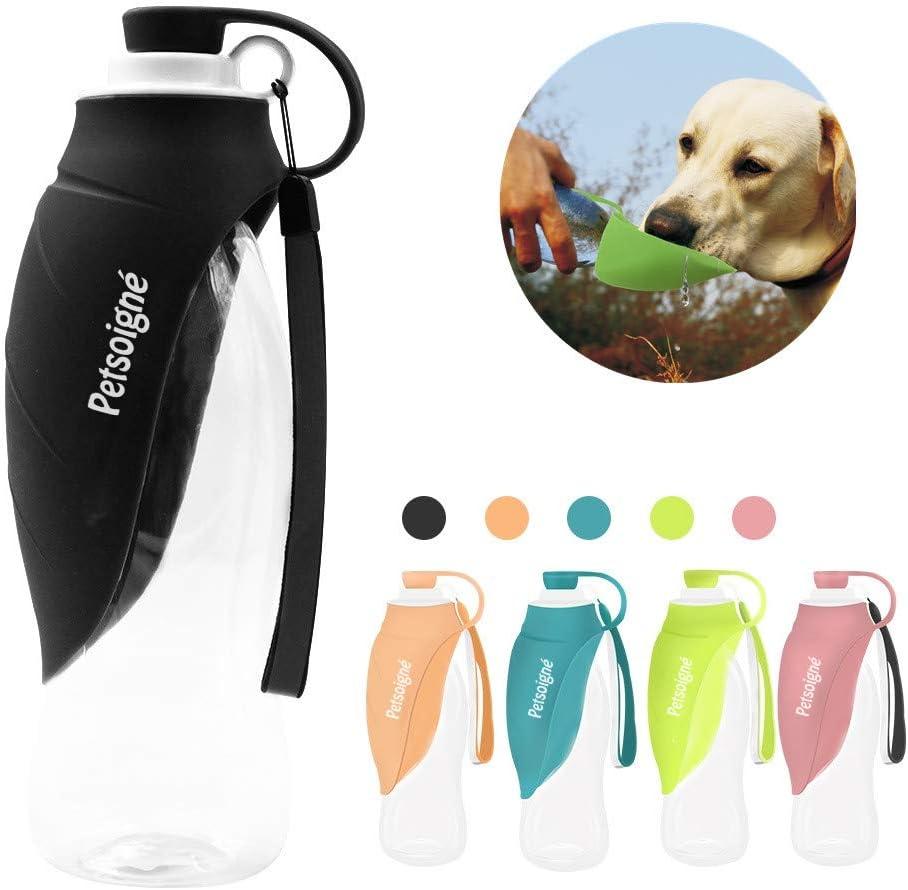 Petsoigné Botella de Agua para Perros Portátil Botella para Perros de Silicona para Salir (Negro)