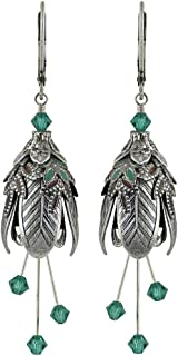 NoMonet Hand Painted Flower Fairy Earrings - Maid Marian Earrings in Silver, Brown and Teal