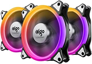 Case Fan, Aigo Aurora 3-Pack RGB LED 120mm High Airflow Adjustable Colorful Quiet Edition RGB CPU Coolers Radiator with Controller
