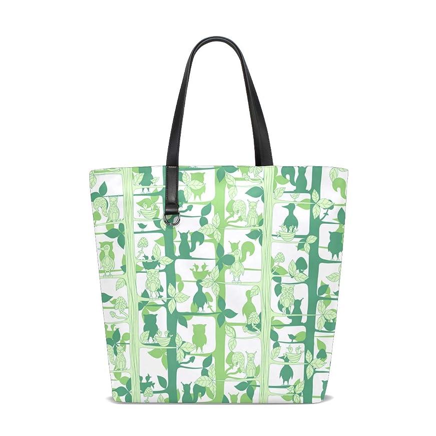 ウイルス吹雪センチメートルトートバッグ かばん ポリエステル+レザー 動物と木ノ葉柄 緑 抽象 両面使える 大容量 通勤通学 メンズ レディース