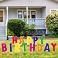 """QPS Happy Birthday Sign for Yard for Kids & Adults - Durable and Weather-Resistant Happy Birthday Yard Signs with Stakes - Birthday Yard Decorations - 28 Total Stakes - 12"""" Tall - 13 Total Signs"""