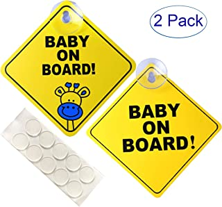 FINENIC Baby on Board Sign for Cars, Warning Sticker Notice Board with Suction Cups and Nano Stick (2PCS)