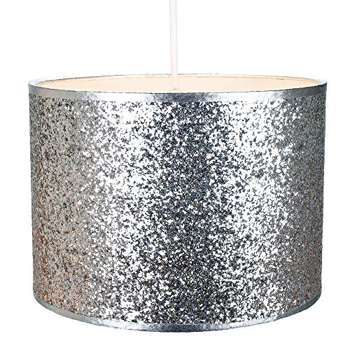 Modern en ontwerper helder zilver glitter stof hanger/lampenkap 25cm breed