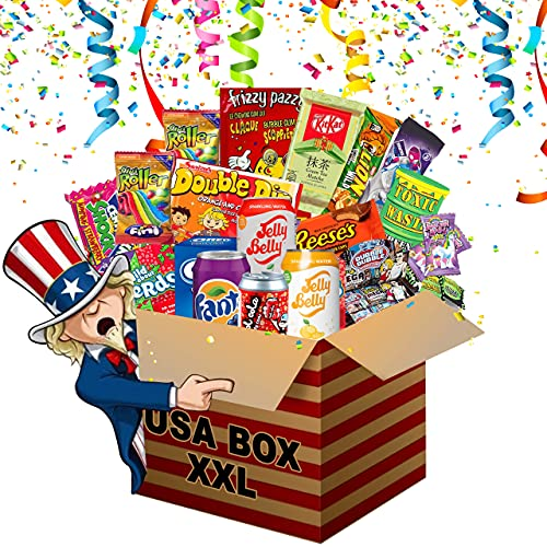 HappyLOL® XXL Amerikanische Süßigkeiten Box | USA Candy Naschbox 27 Teile | Süßigkeiten Box Großpackung | Süssigkeiten aus aller Welt