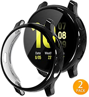 Tensea Compatible with Galaxy Watch Active2 Case, 2 Packs Soft TPU Bumper Full Around Screen Protector Cover for Samsung Galaxy Watch Active 2 44mm (Black, 44mm)