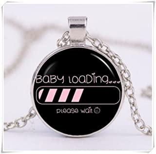 Baby Girl Loading Cabochon Glass Tibet Silver Chain Pendant Necklace
