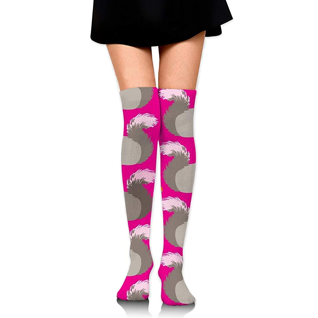 商品自由絶滅したMKLOS 通気性 圧縮ソックス Breathable Extra Long Cotton Thigh High Squirrels Socks Over Exotic Psychedelic Print Compression High Tube Thigh Boot Stockings Knee High Women Girl