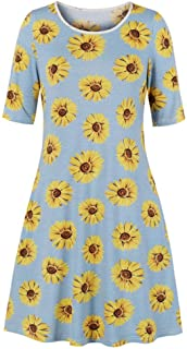 YYLZA Floral Print Women Casual Dress Round Neck Half Sleeves Plus Size Women Dress Female